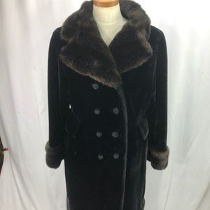 Borganza Women's Black Brown Faux Fur Coat M / L